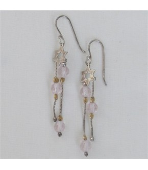 PETITE STAR OF DAVID W/ ROSE QUARTZ DROP STERLING SILVER EARRINGS