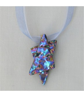 DICHROIC GLASS STAR OF DAVID ON ORGANZA RIBBON NECKLACE
