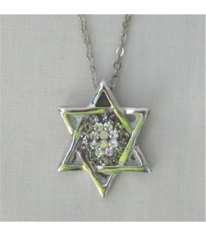 MUTLI CZ CENTER STERLING SILVER STAR OF DAVID NECKLACE