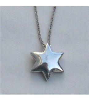 POLISHED FLOATING STAR OF DAVID NECKLACE