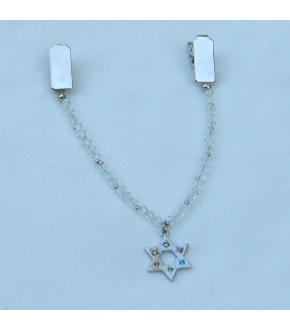CRYSTAL TALLIT CLIP W DANGLING MULTI COLOR CRYSTAL SOD