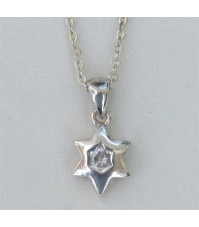 POLISHED STERLING STAR W  CZ CENTER NECKLACE