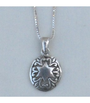 OVAL SCROLL SOD STERLING NECKLACE