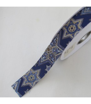 "5 YARDS OF GOLD STAR OF DAVID RIBBON 1.5"" WIDTH"
