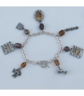 """HANDCRAFTED 7"""" CHARM BRACELET W/ AMBER BEADS"""