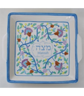 LIGHT BLUE ARMENIAN MATZAH PLATE