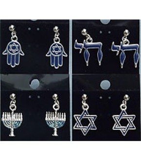 ENAMELED JUDAIC POST EARRINGS