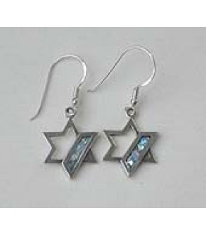 ROMAN GLASS AND STERLING SILVER STAR OF DAVID EARRINGS