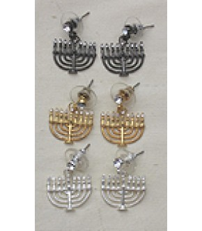 POST MENORAH EARRINGS WITH CRYSTALS