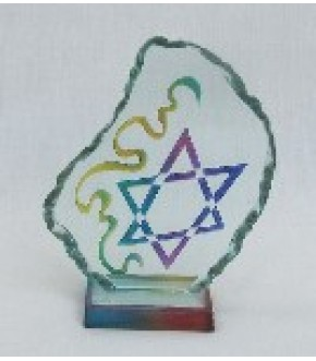 HAND CRAFTED LEAF SHAPE ABSTRACT COLORED ETCHED STAR SCULPTURE
