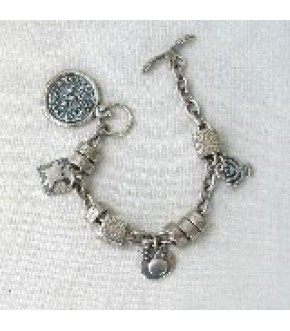 PEWTER CHARM BRACELET WITH MENORAH COIN