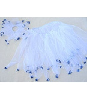 WHITE RIBBON TUTU AND HAIR SCRUNCHY W STARS