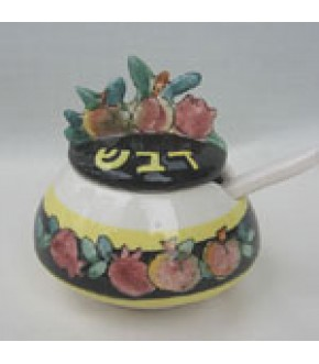POMEGRANATE TOPPED CERAMIC HONEY POT