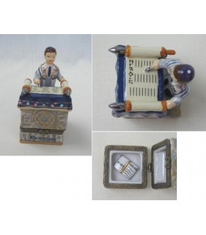 CERAMIC HINGED BAR MITZVAH COLLECTOR'S BOX