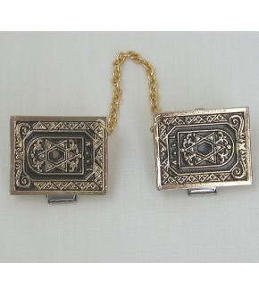 GOLDEN TALLIT CLIPS W STAR OF DAVID