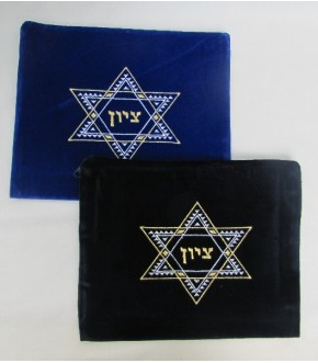 VELVET TALIS BAG W TWO TONE METALLIC STAR OF DAVID CENTER