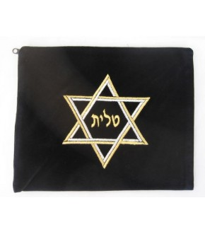 NAVY VELVET DOUBLE METALLIC STAR OF DAVID TALIS BAG