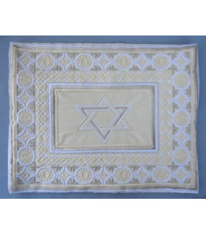 BEAUTIFUL COTTON EMBROIDERED STAR OF DAVID WHITE/CREAM TALLIT BAG