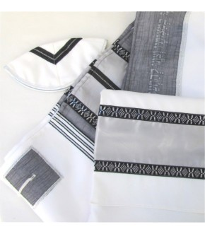 OFF WHITE TALLIT  W GREY SILVER ACCENTS