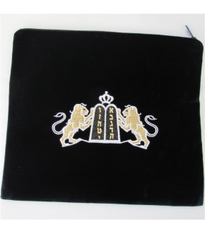 NAVY LION AND TABLET DESIGN TALLIT BAG