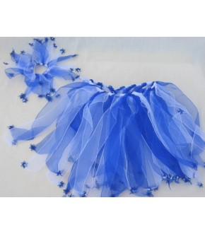 BLUE WHITE RIBBON TUTU AND HAIR SCRUNCHY W STARS