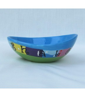 EARTHENWARE BLUE SHALOM DISH