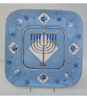 CERAMIC DREIDEL EDGED CHANUKAH PLATE