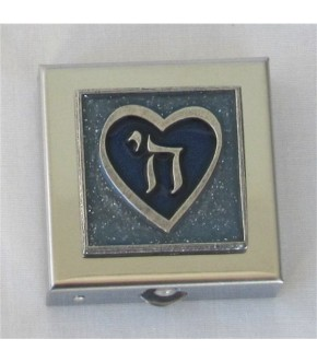 BLUE CHAI HEART MIRRORED PILL BOX