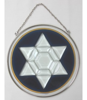 BEVELED GLASS STAR OF DAVID SUNCATCHER