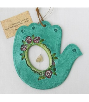 HANDCRAFTED CERAMIC TEAL  BIRD HAMSA W  CRYSTAL