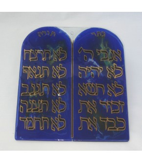 HAND CRAFTED GLASS TEN COMMANDMENTS WALL DECORATION