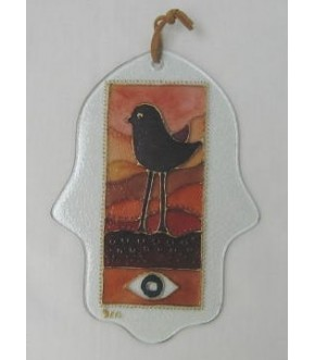 GLASS HAMSA W BIRD AND EYE