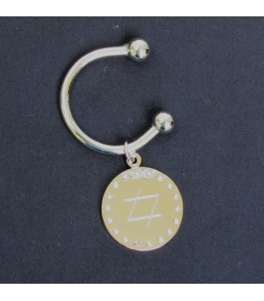 ENGRAVED KEYRING WITH CRYSTALS