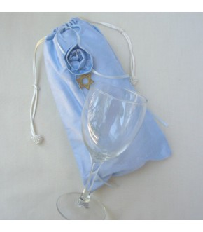 BLUE SILK MAZEL TOV BAG AND GLASS