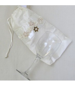 FLOWING FLOWER BAND ON OFF WHITE ITALIAN SILK MAZEL BAG AND GLASS