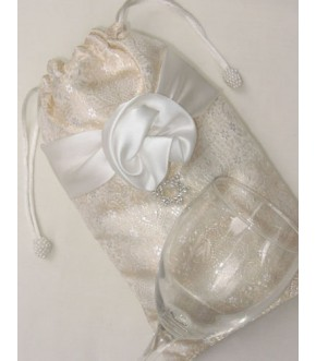 GOLD & SILVER BROCADE W/SATIN ROSETTE/ CRYSTAL STAR MAZEL TOV BAG AND GLASS