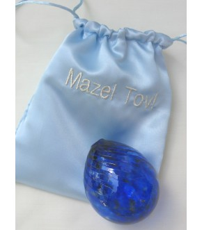 BLUE SATIN MAZEL BAG W ROYAL GLASS