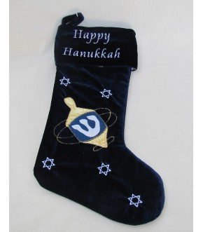 VELVET HAPPY HANUKKAH DECORATIVE STOCKING