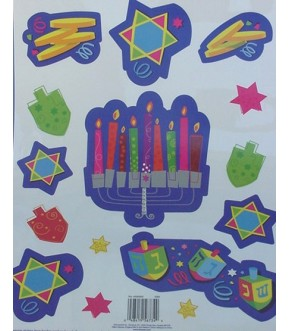 PLAYFUL MENORAH WINDOW CLING SET
