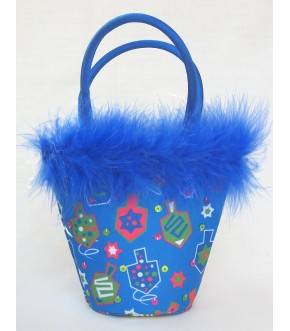 SEQUIN PRINTED FABRIC FEATHER HANUKAH TOTE