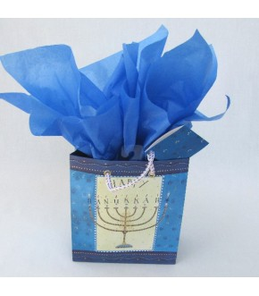 MENORAH MAGIC METALLIC CORDED GIFT BAG AND TISSUE