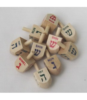 10 HEBREW AND ENGLISH SMALL WOODEN DREIDELS