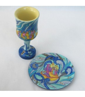 EMANUEL'S WOODEN EXODUS KIDDUSH CUP AND TRAY