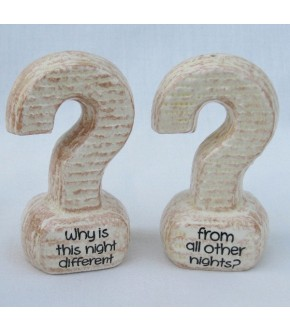 PASSOVER QUESTION MARK SALT AND PEPPER SHAKERS