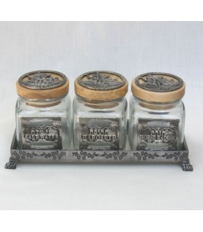 SET OF THREE JARS ON TRAY FOR PASSOVER