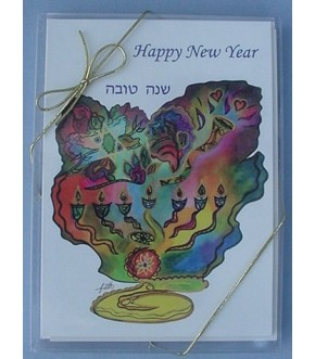 BOX OF 10 CARDS WATERCOLORED LIGHTS OF A NEW YEAR