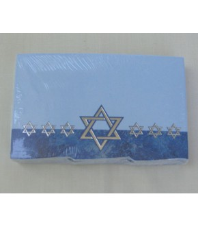 PACKAGE OF 50 BORDERED SILVER FOIL STAR OF DAVID GIFT TAGS