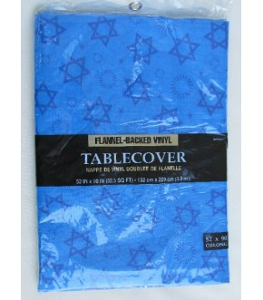 ALL OVER STAR OF DAVID FLANNEL BACKED TABLECOVER