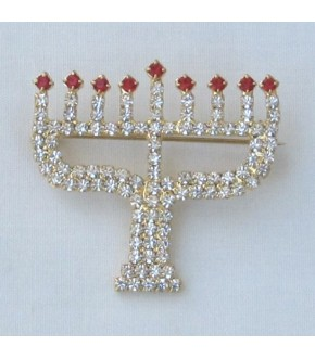 CRYSTAL MENORAH PIN