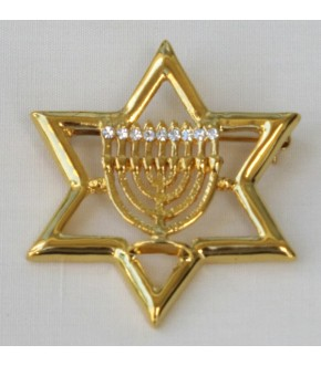 STAR OF DAVID MENORAH CENTER PIN